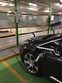2014 Cadillac ELR Graphite Gray plugged in underground parking lot