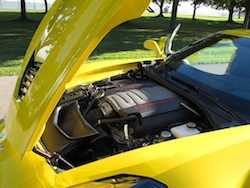 2014 Chevrolet Corvette C7 Stingray Yellow open engine bay