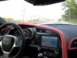 2014 Chevrolet Corvette C7 Stingray Yellow dashboard driving pov