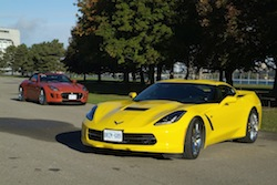 2014 Chevrolet Corvette C7 Stingray Yellow with jaguar ftype orange