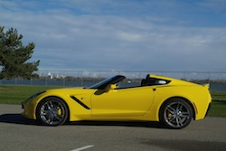 2014 Chevrolet Corvette C7 Stingray Yellow side top open