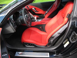 2014 Chevrolet Corvette C7 Stingray Yellow red interior front seats