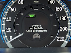 2014 Honda Accord Hybrid White ev mode not available