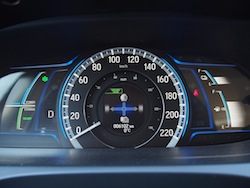 2014 Honda Accord Hybrid White gauges speedometer