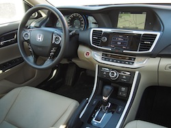 2014 Honda Accord Hybrid White interior dashboard