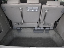 2014 Honda Odyssey white rear storage space with third row up