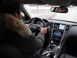 2014 Infiniti Q50 AWD Brown driving interior view
