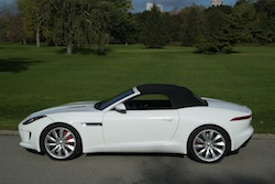 2014 Jaguar F-Type Convertible White top open