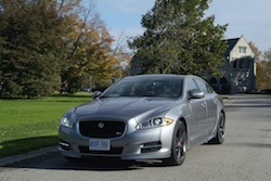 2014 Jaguar XJR L Silver front side view castle
