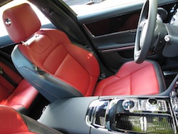 2014 Jaguar XJR L Silver front red leather seats