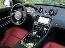 2014 Jaguar XJR L Silver interior dashboard red leather seats
