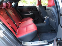 2014 Jaguar XJR L Silver rear red leather seats