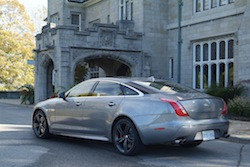 2014 Jaguar XJR L Silver rear side view