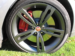 2014 Jaguar XJR L Silver rims and wheels with red brake calipers