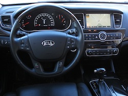 2014 Kia Cadenza black interior dashboard with steering wheel