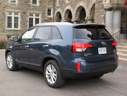 2014 Kia Sorento blue rear side view taillights and wheels rims