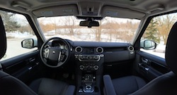 2014 Land Rover LR4 HSE white interior dashboard panorama shot