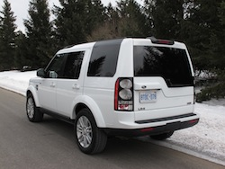 2014 Land Rover LR4 HSE white rear side view