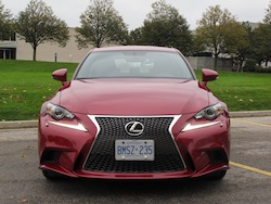 2014 Lexus IS350 F-Sport RWD Red front view headlights checkmark on