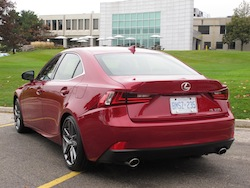 2014 Lexus IS350 F-Sport RWD Red rear side view taillights off