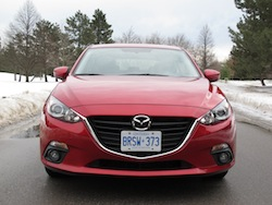 2014 Mazda 3 Sport GS Soul Red front view headlights badge