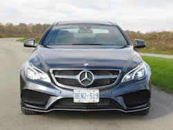2014 Mercedes-Benz E350 Coupe Gray front view headlights grill