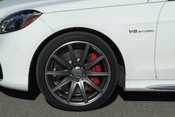 2014 Mercedes E63 AMG S White rims with red caliper wheels