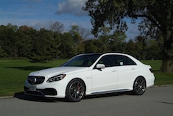 2014 Mercedes E63 AMG S White front side view