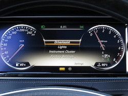 2014 Mercedes-Benz S550 Silver driver assist and safety tech on gauges