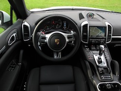 2014 Porsche Cayenne Diesel White interior dashboard steering wheel and center console leather