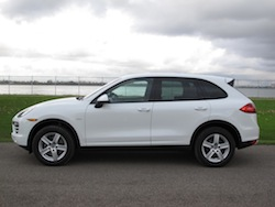 2014 Porsche Cayenne Diesel White side view lake ontario