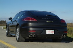 2014 Porsche Panamera S E-Hybrid Black rear view license plate quad exhausts