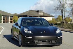 2014 Porsche Panamera S E-Hybrid Black front view headlights off