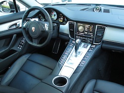 2014 Porsche Panamera S E-Hybrid Black interior dashboard view with steering wheel