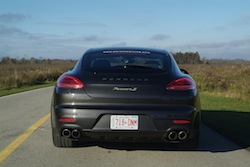 2014 Porsche Panamera S E-Hybrid Black rear view with quad exhausts