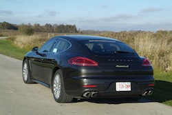 2014 Porsche Panamera S E-Hybrid Black rear side view in the field