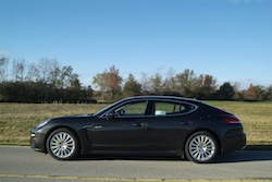 2014 Porsche Panamera S E-Hybrid Black side view with rims and wheels
