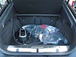 2014 Porsche Panamera S E-Hybrid Black trunk storage space with chargers