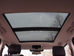 2014 Range Rover Sport panoramic roof rear seat view