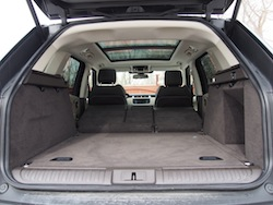 2014 Range Rover Sport trunk space view rear seats folded