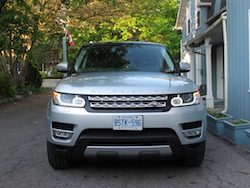 2014 Range Rover Sport V8 Supercharged Indus Silver front headlights