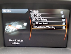 2014 Volvo S60 T6 AWD collision warning detector display