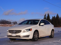 2014 Volvo S60 T6 AWD front side view white winter