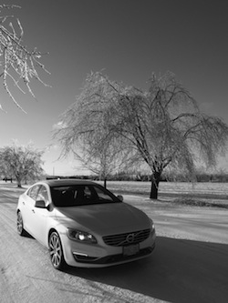 2014 Volvo S60 T6 AWD front side view snow tree winter