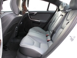 2014 Volvo S60 T6 AWD rear seats white interior black