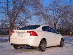 2014 Volvo S60 T6 AWD rear view winter white