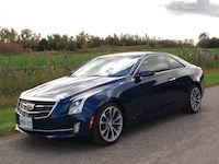 2015 Cadillac ATS Coupe blue side wheels