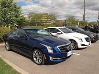 2015 Cadillac ATS Coupe line up blue white gray