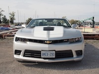 2015 Chevrolet Camaro SS Convertible silver front view top down