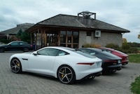 2015 Jaguar F-Type R Coupe white black red rear views
